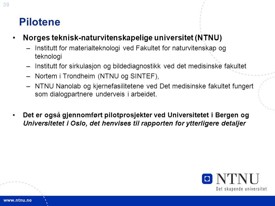 39 Pilotene •Norges teknisk-naturvitenskapelige universitet (NTNU) –Institutt for materialteknologi ved Fakultet for naturvitenskap og teknologi –Inst