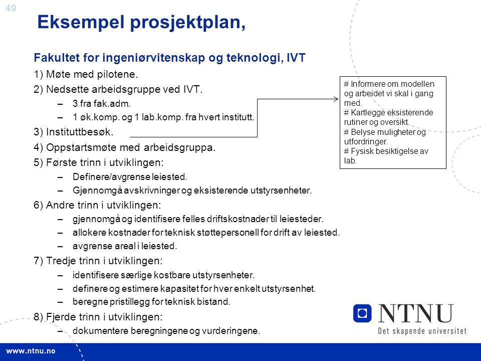 49 Eksempel prosjektplan, Fakultet for ingeniørvitenskap og teknologi, IVT 1) Møte med pilotene. 2) Nedsette arbeidsgruppe ved IVT. –3 fra fak.adm. –1