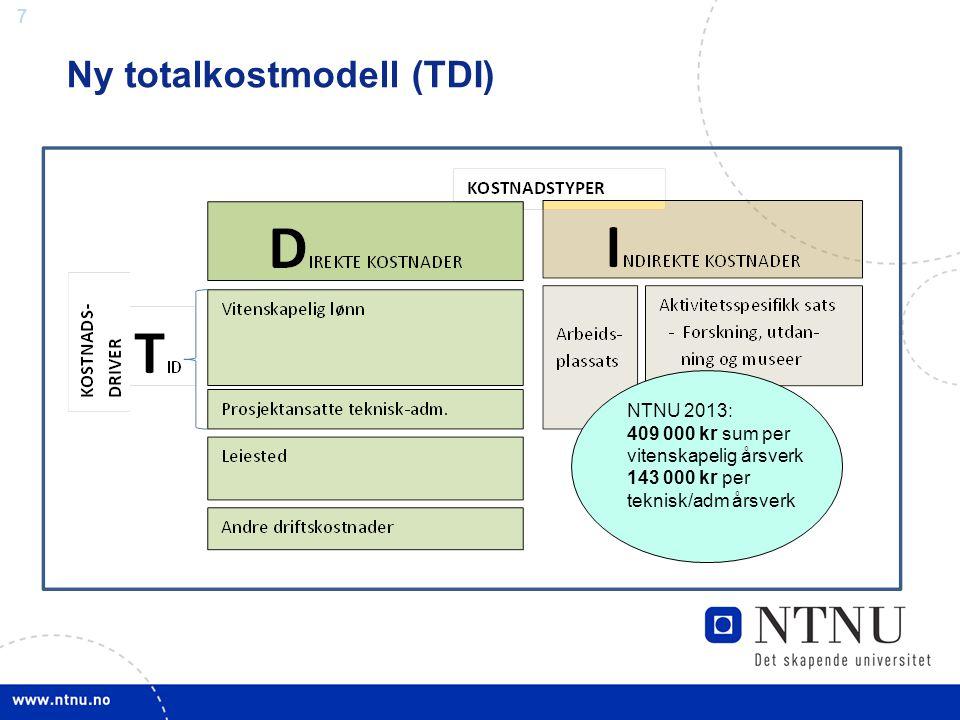 7 Ny totalkostmodell (TDI) NTNU 2013: 409 000 kr sum per vitenskapelig årsverk 143 000 kr per teknisk/adm årsverk