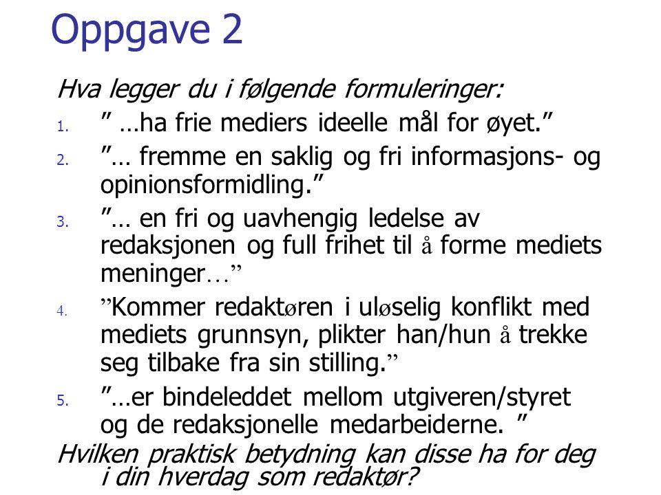 Oppgave 2 Hva legger du i følgende formuleringer: 1.