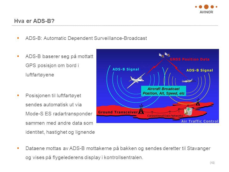 {10} Hva er ADS-B?  ADS-B: Automatic Dependent Surveillance-Broadcast  Dataene mottas av ADS-B mottakerne på bakken og sendes deretter til Stavanger