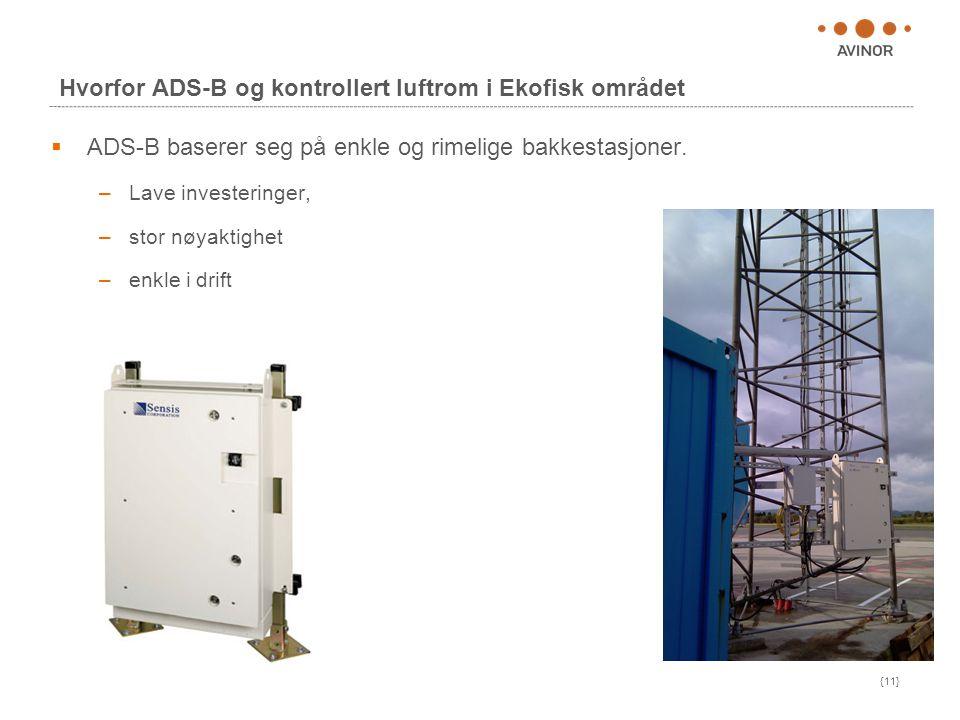 {11} Hvorfor ADS-B og kontrollert luftrom i Ekofisk området  ADS-B baserer seg på enkle og rimelige bakkestasjoner. –Lave investeringer, –stor nøyakt