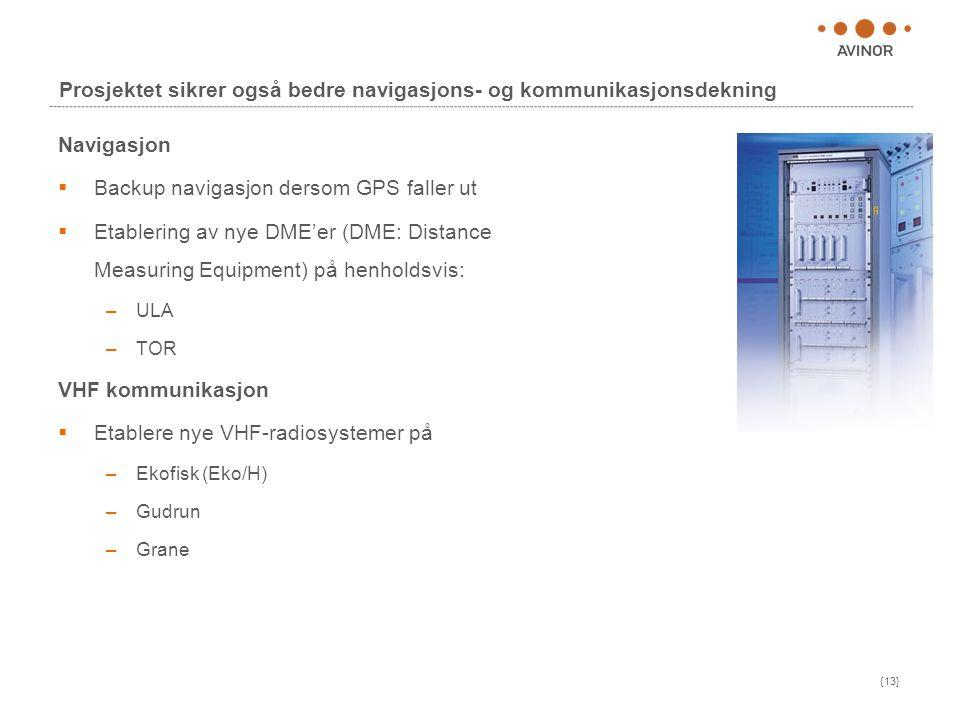 {13} Prosjektet sikrer også bedre navigasjons- og kommunikasjonsdekning Navigasjon  Backup navigasjon dersom GPS faller ut  Etablering av nye DME'er (DME: Distance Measuring Equipment) på henholdsvis: –ULA –TOR VHF kommunikasjon  Etablere nye VHF-radiosystemer på –Ekofisk (Eko/H) –Gudrun –Grane