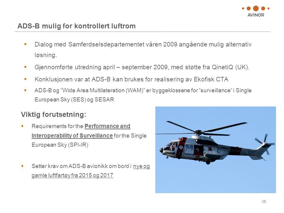 {9} ADS-B mulig for kontrollert luftrom  Dialog med Samferdselsdepartementet våren 2009 angående mulig alternativ løsning.
