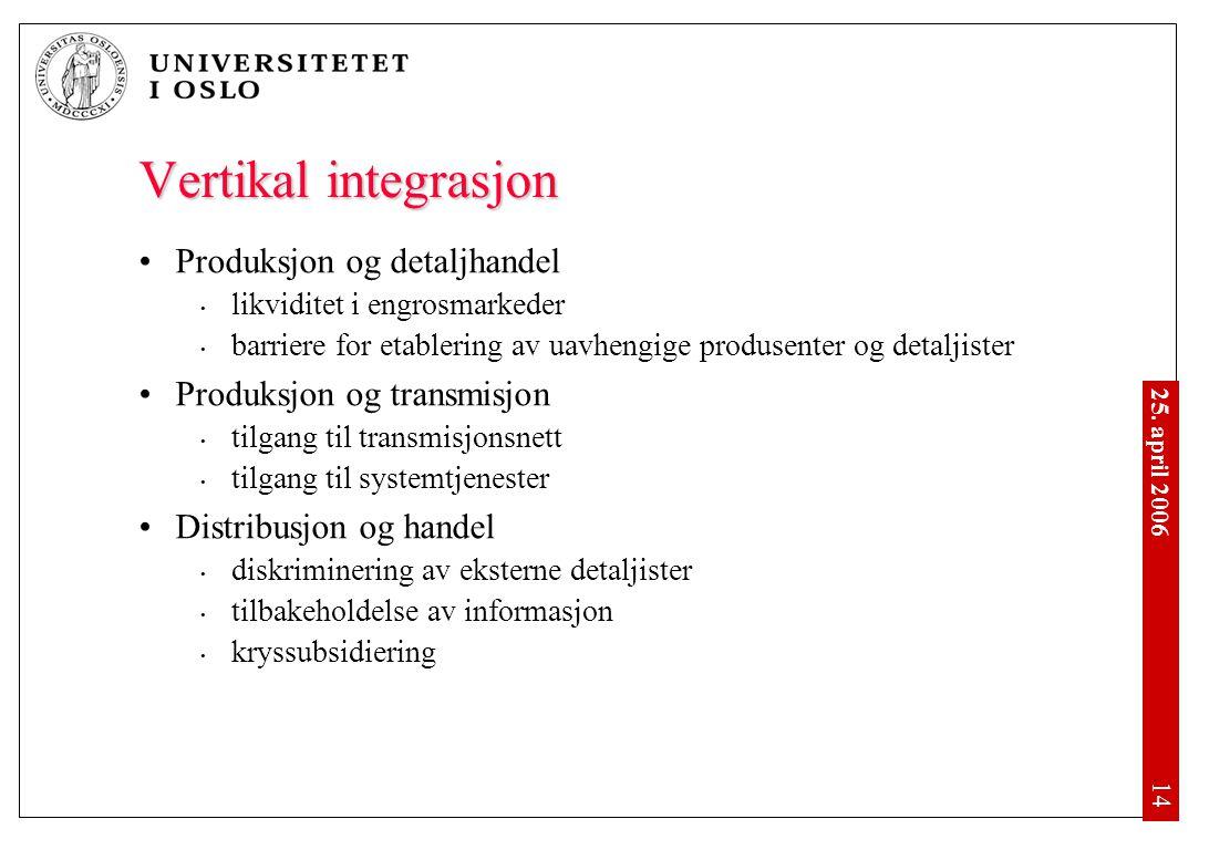 25. april 2006 • 14 Vertikal integrasjon •Produksjon og detaljhandel • likviditet i engrosmarkeder • barriere for etablering av uavhengige produsenter