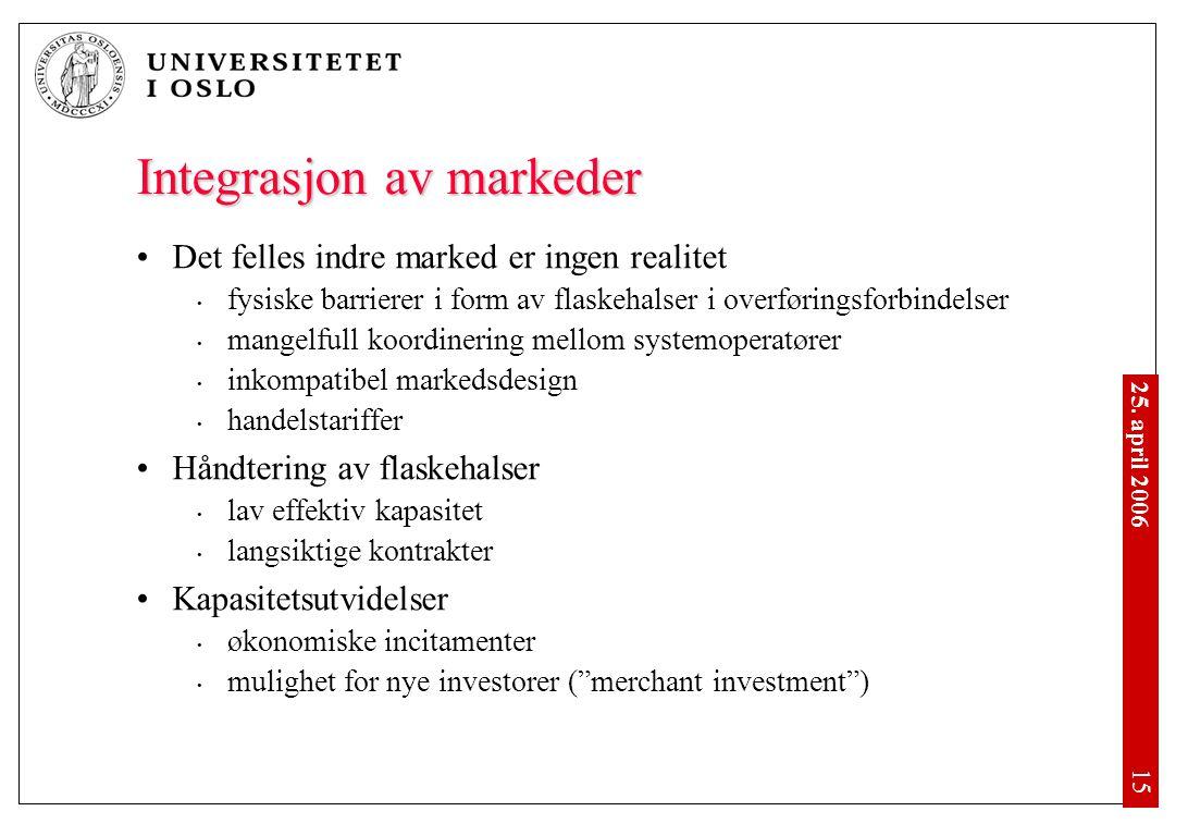 25. april 2006 • 15 Integrasjon av markeder •Det felles indre marked er ingen realitet • fysiske barrierer i form av flaskehalser i overføringsforbind