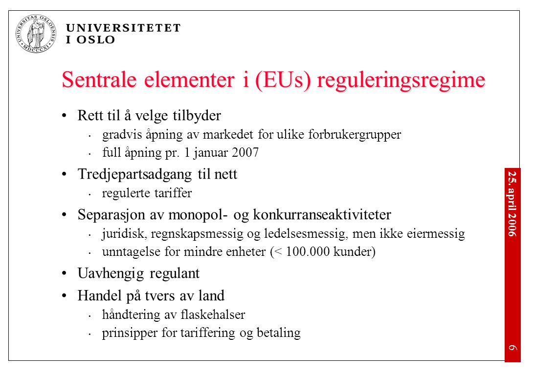 25. april 2006 •6•6 Sentrale elementer i (EUs) reguleringsregime •Rett til å velge tilbyder • gradvis åpning av markedet for ulike forbrukergrupper •