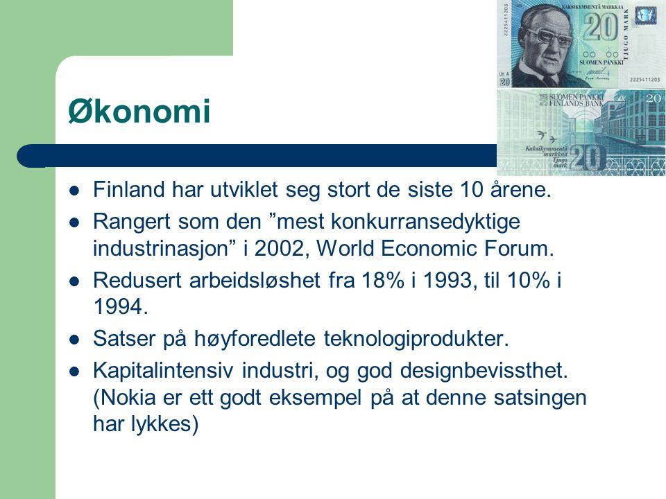 Viktige industrier og byer  De tre bidragsyterne til BNP er tjenestesektorer (58%), industri (36%) og jordbruk (6%)  Helsinki: Offentlig administrasjon, verftsindustri, handel.