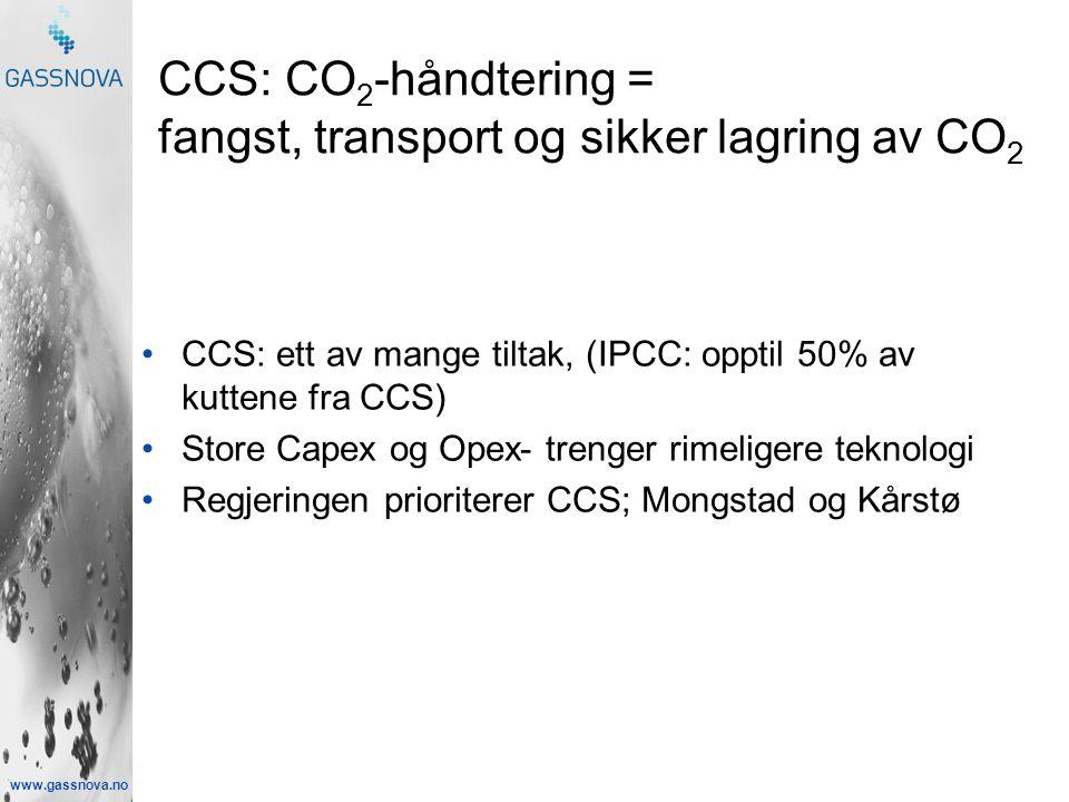 www.gassnova.no CCS: CO 2 -håndtering = fangst, transport og sikker lagring av CO 2 •CCS: ett av mange tiltak, (IPCC: opptil 50% av kuttene fra CCS) •Store Capex og Opex- trenger rimeligere teknologi •Regjeringen prioriterer CCS; Mongstad og Kårstø