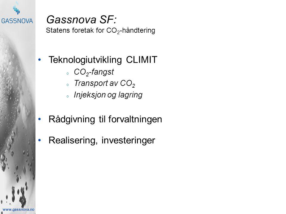 www.gassnova.no Gassnova SF: Statens foretak for CO 2 -håndtering •Teknologiutvikling CLIMIT o CO 2 -fangst o Transport av CO 2 o Injeksjon og lagring •Rådgivning til forvaltningen •Realisering, investeringer