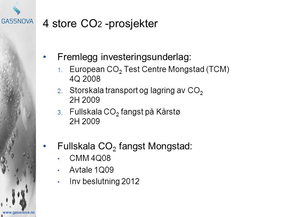 www.gassnova.no 4 store CO 2 -prosjekter •Fremlegg investeringsunderlag: 1.