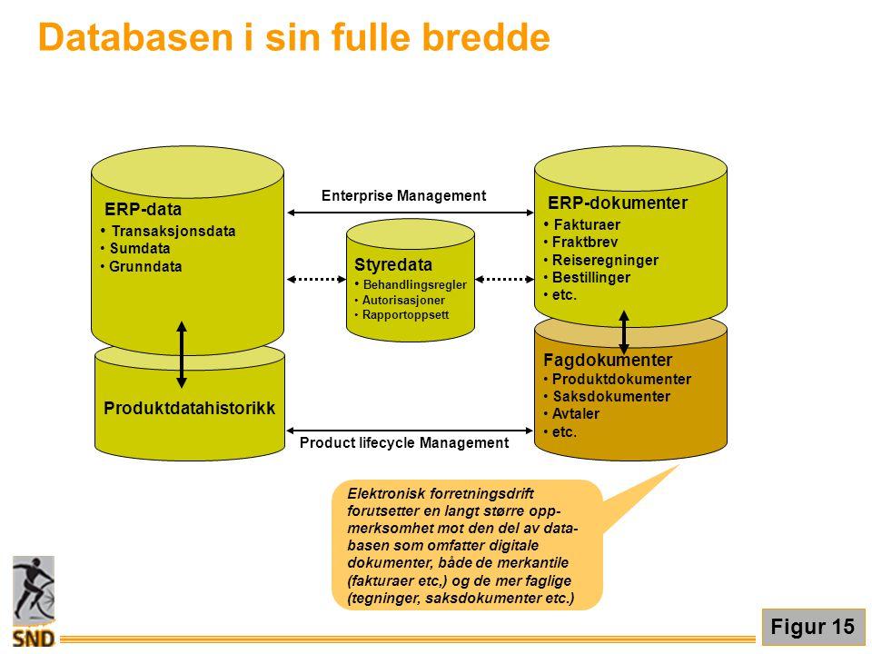 Databasen i sin fulle bredde Figur 15 Elektronisk forretningsdrift forutsetter en langt større opp- merksomhet mot den del av data- basen som omfatter