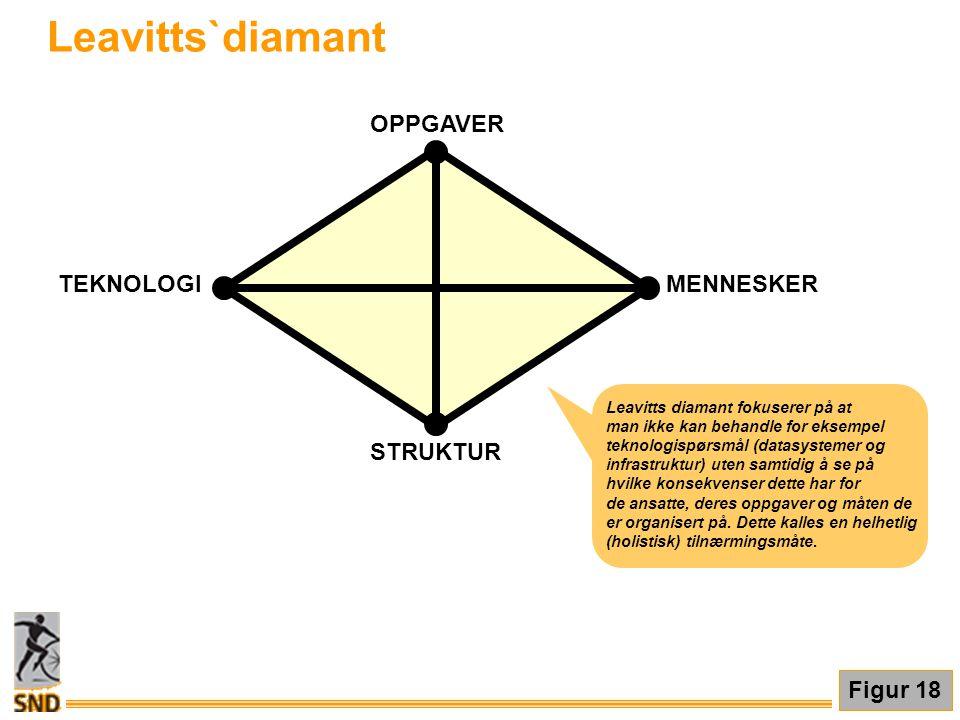 STRUKTUR OPPGAVER MENNESKERTEKNOLOGI Leavitts`diamant Leavitts diamant fokuserer på at man ikke kan behandle for eksempel teknologispørsmål (datasyste