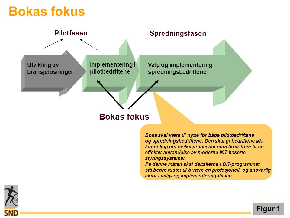Bokas fokus Figur 1 Boka skal være til nytte for både pilotbedriftene og spredningsbedriftene. Den skal gi bedriftene økt kunnskap om hvilke prosesser