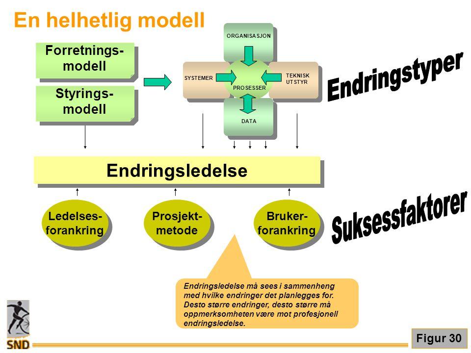 En helhetlig modell Forretnings- modell Forretnings- modell ORGANISASJON SYSTEMER TEKNISK UTSTYR DATA PROSESSER Endringsledelse Ledelses- forankring L