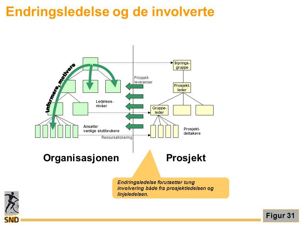 Endringsledelse og de involverte Figur 31 Endringsledelse forutsetter tung involvering både fra prosjektledelsen og linjeledelsen. Ansatte/ vanlige sl