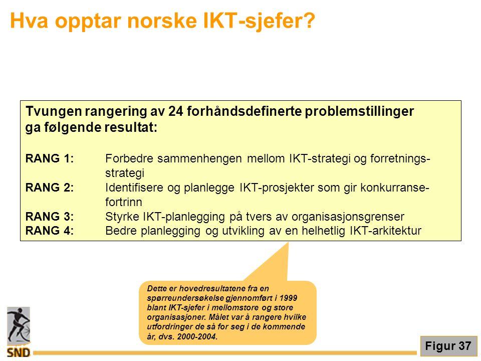 Hva opptar norske IKT-sjefer? Figur 37 Tvungen rangering av 24 forhåndsdefinerte problemstillinger ga følgende resultat: RANG 1:Forbedre sammenhengen