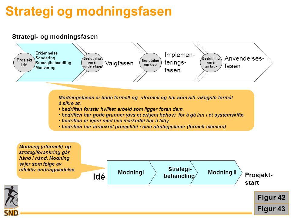 Modning I Strategi- behandling Modning II Prosjekt- start Idé Figur 43 Strategi og modningsfasen Modning (uformelt) og strategiforankring går hånd i h