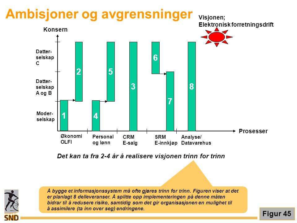 Ambisjoner og avgrensninger Moder- selskap Datter- selskap A og B Datter- selskap C Konsern Prosesser Økonomi OLFI Personal og lønn CRM E-salg SRM E-i