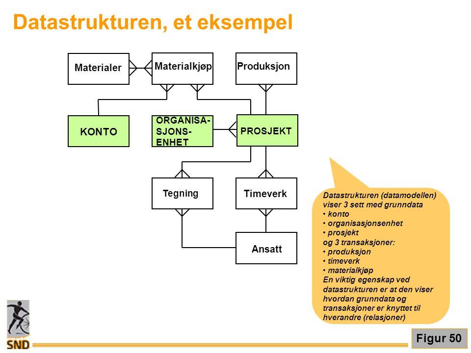 Datastrukturen, et eksempel Figur 50 Datastrukturen (datamodellen) viser 3 sett med grunndata • konto • organisasjonsenhet • prosjekt og 3 transaksjon