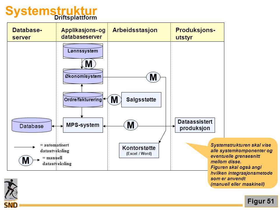 Driftsplattform Systemstruktur Applikasjons- og databaseserver Arbeidsstasjon MPS-system Dataassistert produksjon Kontorstøtte (Excel / Word) Salgsstø