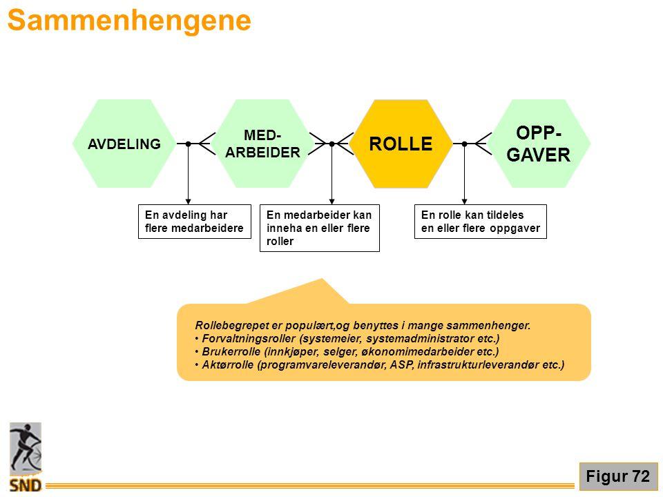Sammenhengene Rollebegrepet er populært,og benyttes i mange sammenhenger. • Forvaltningsroller (systemeier, systemadministrator etc.) • Brukerrolle (i