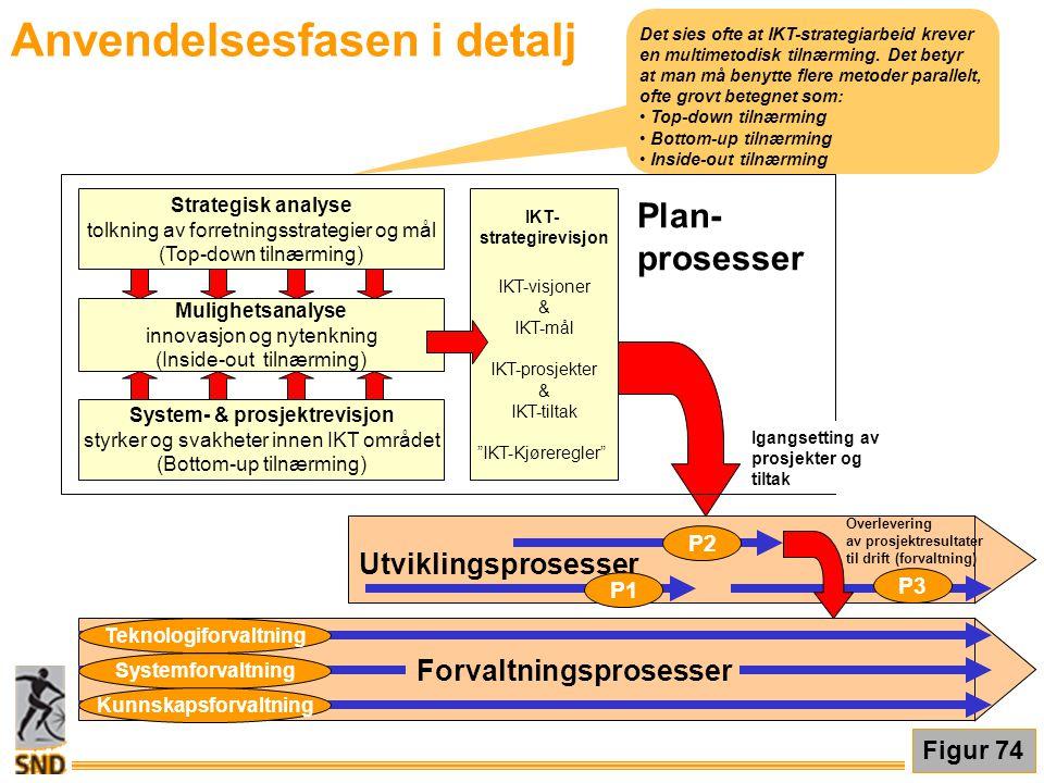 Anvendelsesfasen i detalj Det sies ofte at IKT-strategiarbeid krever en multimetodisk tilnærming. Det betyr at man må benytte flere metoder parallelt,