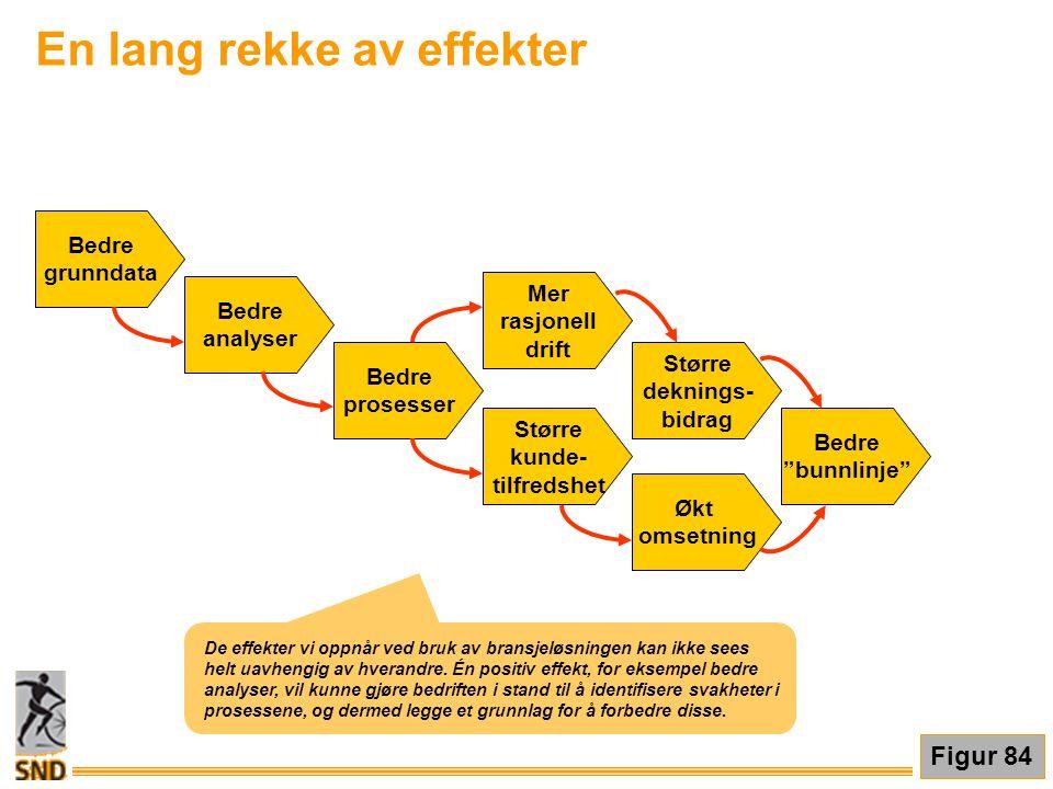 En lang rekke av effekter Bedre grunndata Bedre analyser Bedre prosesser Større kunde- tilfredshet Økt omsetning Mer rasjonell drift Større deknings-