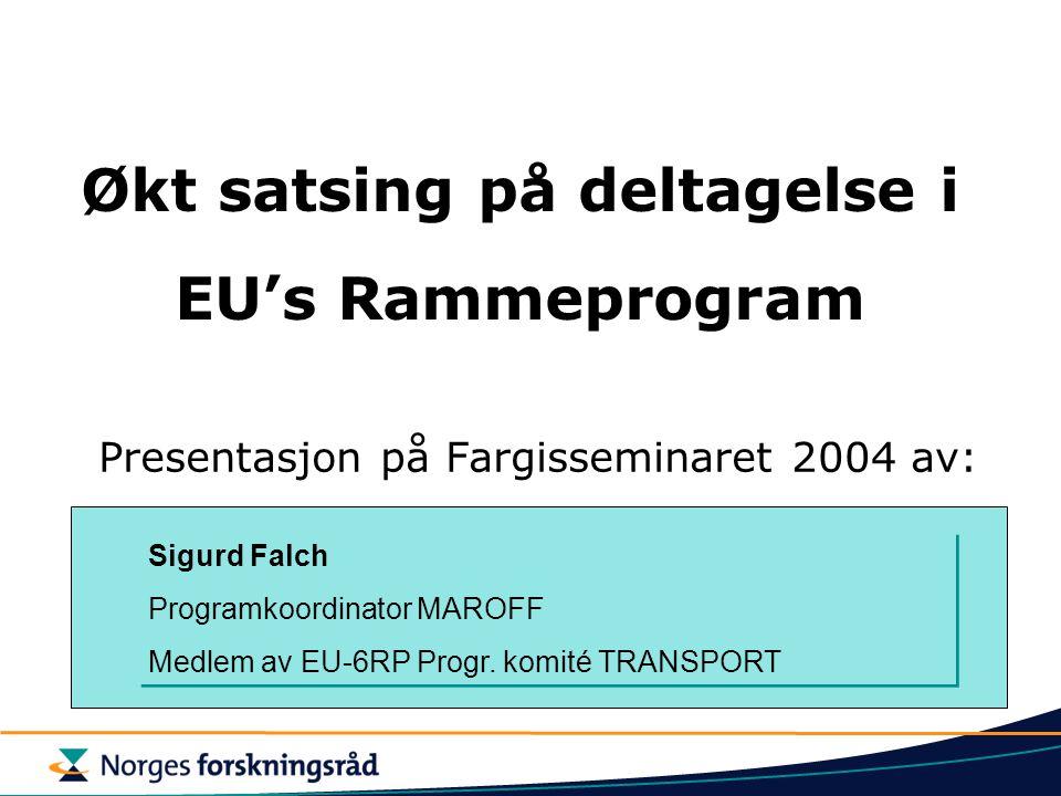 Økt satsing på deltagelse i EU's Rammeprogram Presentasjon på Fargisseminaret 2004 av: Sigurd Falch Programkoordinator MAROFF Medlem av EU-6RP Progr.