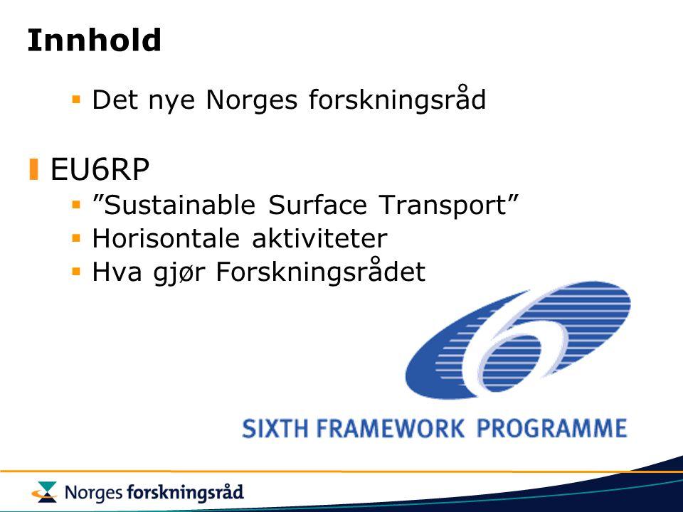 """Innhold  Det nye Norges forskningsråd EU6RP  """"Sustainable Surface Transport""""  Horisontale aktiviteter  Hva gjør Forskningsrådet"""