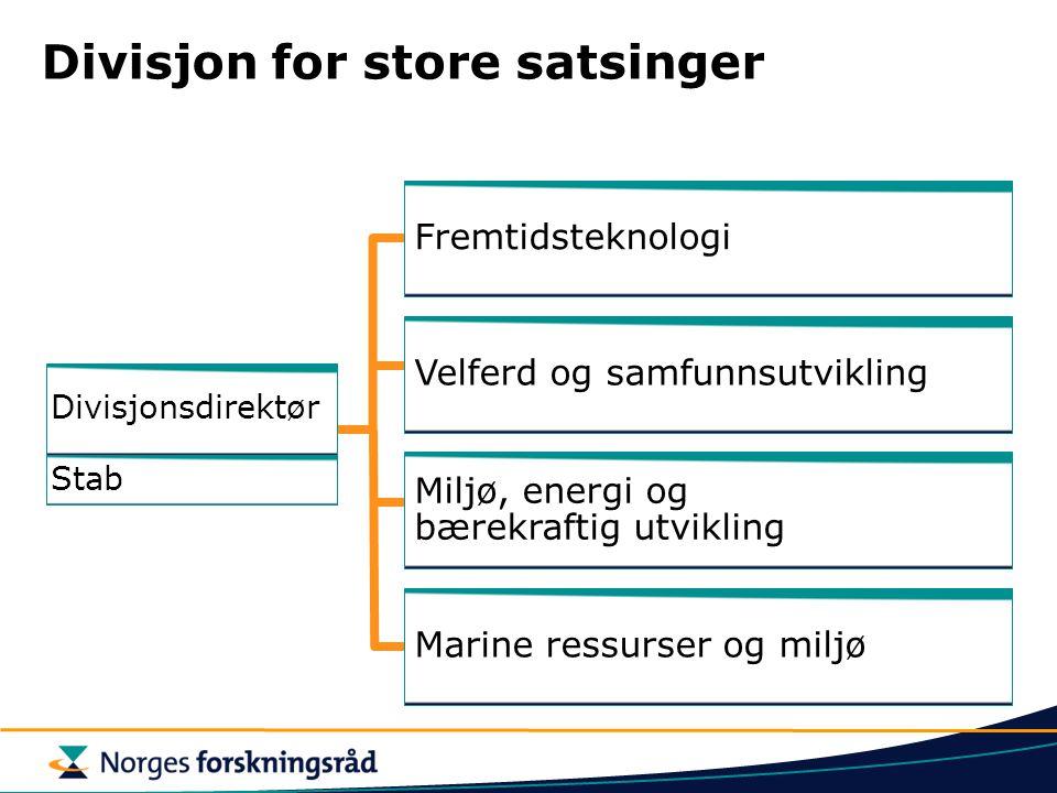 Divisjon for store satsinger Fremtidsteknologi Marine ressurser og miljø Velferd og samfunnsutvikling Stab Divisjonsdirektør Miljø, energi og bærekraf