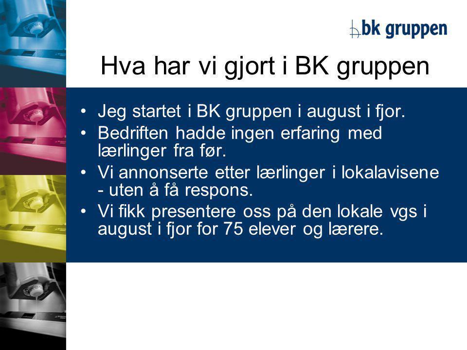 Hva har vi gjort i BK gruppen •Jeg startet i BK gruppen i august i fjor.