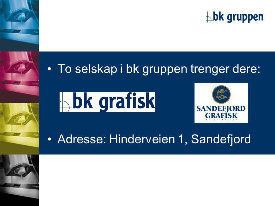 •To selskap i bk gruppen trenger dere: •Adresse: Hinderveien 1, Sandefjord