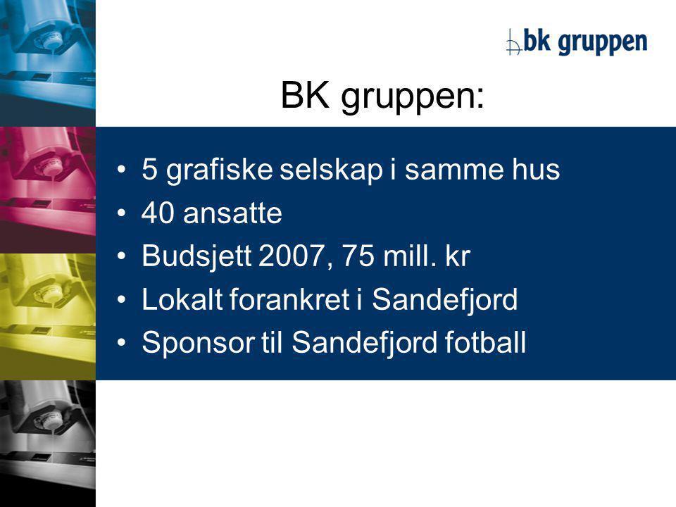 BK gruppen: •5 grafiske selskap i samme hus •40 ansatte •Budsjett 2007, 75 mill.
