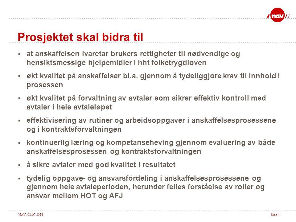 NAV, 02.07.2014Side 4 Prosjektet skal bidra til  at anskaffelsen ivaretar brukers rettigheter til nødvendige og hensiktsmessige hjelpemidler i hht folketrygdloven  økt kvalitet på anskaffelser bl.a.