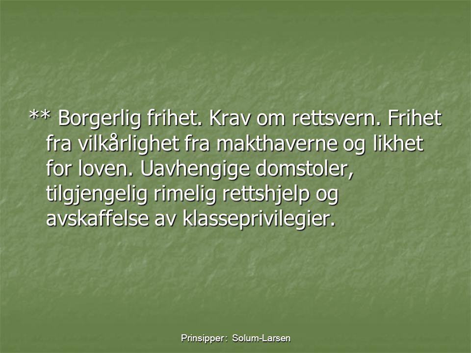 Prinsipper : Solum-Larsen ** Borgerlig frihet. Krav om rettsvern. Frihet fra vilkårlighet fra makthaverne og likhet for loven. Uavhengige domstoler, t