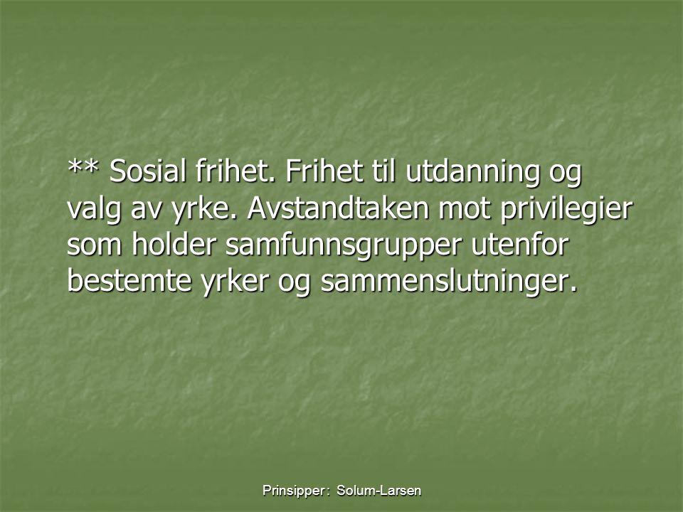 Prinsipper : Solum-Larsen ** Sosial frihet. Frihet til utdanning og valg av yrke. Avstandtaken mot privilegier som holder samfunnsgrupper utenfor best