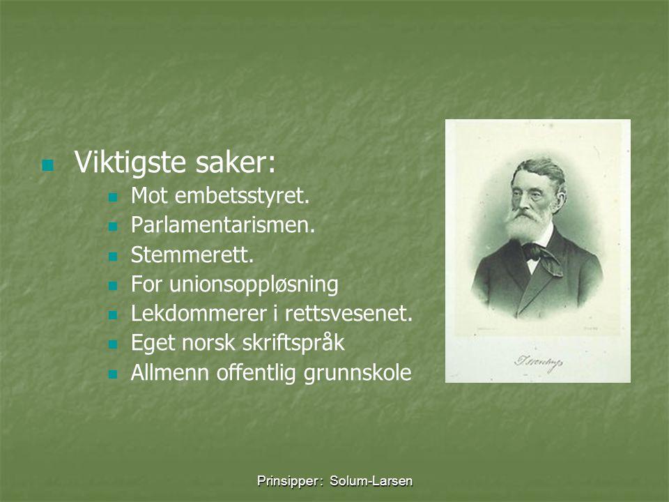 Prinsipper : Solum-Larsen   Viktigste saker:   Mot embetsstyret.   Parlamentarismen.   Stemmerett.   For unionsoppløsning   Lekdommerer i
