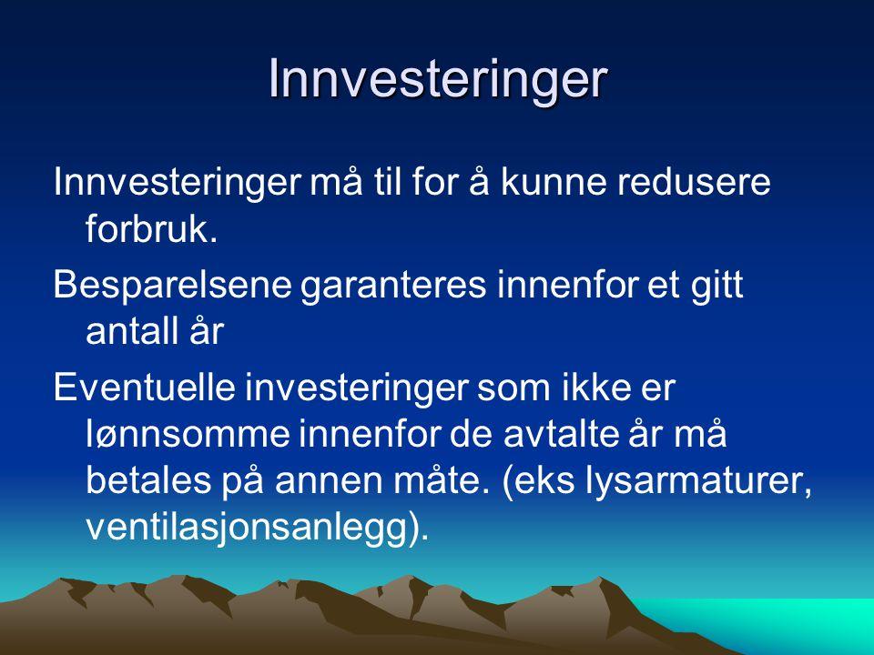 Innvesteringer Innvesteringer må til for å kunne redusere forbruk.