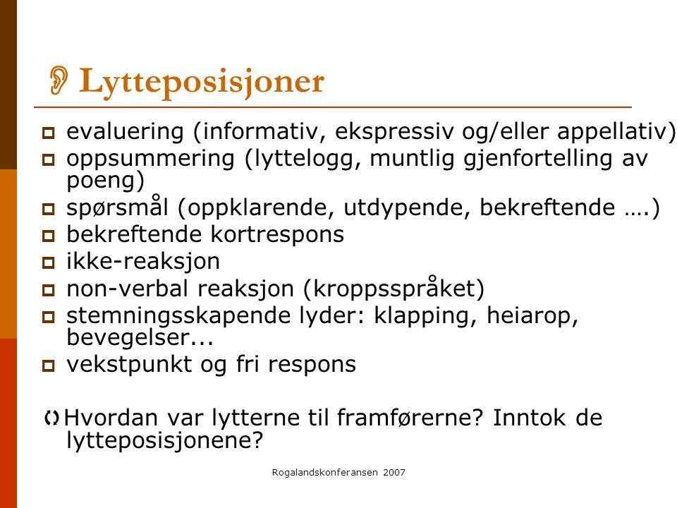 Rogalandskonferansen 2007  Lytteposisjoner  evaluering (informativ, ekspressiv og/eller appellativ)  oppsummering (lyttelogg, muntlig gjenfortellin
