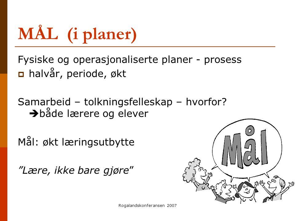 Rogalandskonferansen 2007 MÅL (i planer) Fysiske og operasjonaliserte planer - prosess  halvår, periode, økt Samarbeid – tolkningsfelleskap – hvorfor