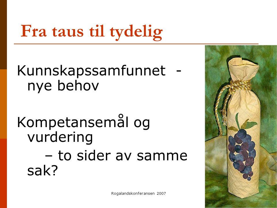 Rogalandskonferansen 2007 Fra taus til tydelig Kunnskapssamfunnet - nye behov Kompetansemål og vurdering – to sider av samme sak?