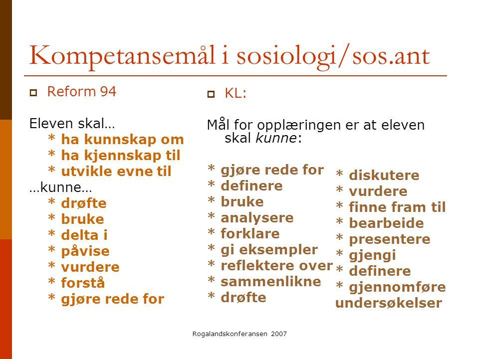 Rogalandskonferansen 2007 Kompetansemål i sosiologi/sos.ant  Reform 94 Eleven skal… * ha kunnskap om * ha kjennskap til * utvikle evne til …kunne… *
