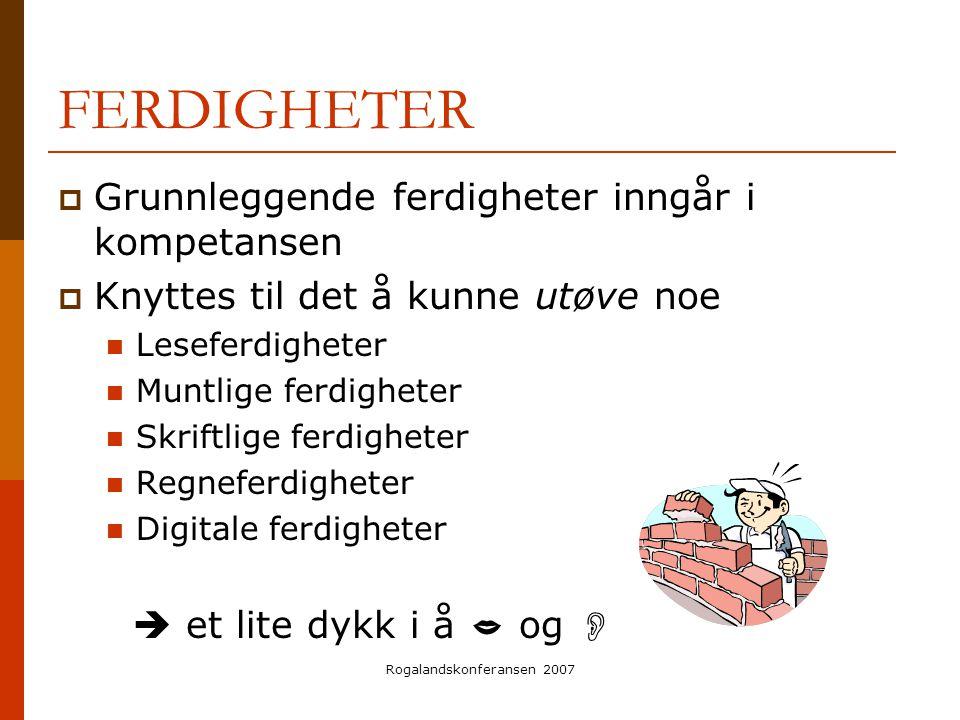 Rogalandskonferansen 2007 FERDIGHETER  Grunnleggende ferdigheter inngår i kompetansen  Knyttes til det å kunne utøve noe  Leseferdigheter  Muntlig