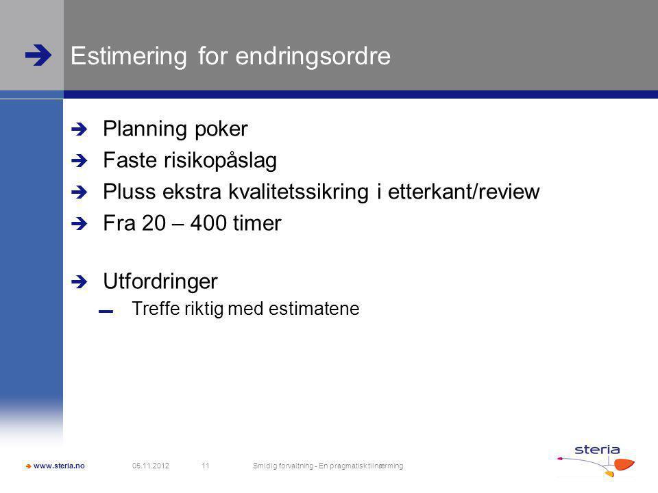  www.steria.no  Estimering for endringsordre  Planning poker  Faste risikopåslag  Pluss ekstra kvalitetssikring i etterkant/review  Fra 20 – 400 timer  Utfordringer ▬ Treffe riktig med estimatene 05.11.2012 Smidig forvaltning - En pragmatisk tilnærming 11