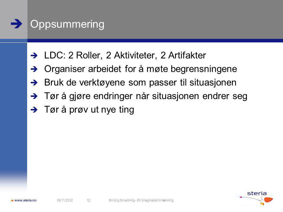  www.steria.no  Oppsummering  LDC: 2 Roller, 2 Aktiviteter, 2 Artifakter  Organiser arbeidet for å møte begrensningene  Bruk de verktøyene som passer til situasjonen  Tør å gjøre endringer når situasjonen endrer seg  Tør å prøv ut nye ting 05.11.2012 Smidig forvaltning - En pragmatisk tilnærming 12