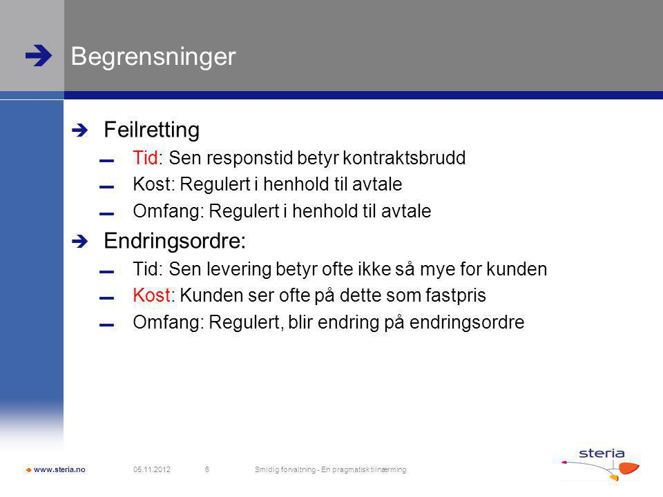  www.steria.no  Begrensninger: Tid, Kost, Omfang  The discipline of Project Management is about providing the tools and techniques that enable the project team (not just the project manager) to organize their work to meet these constraints.