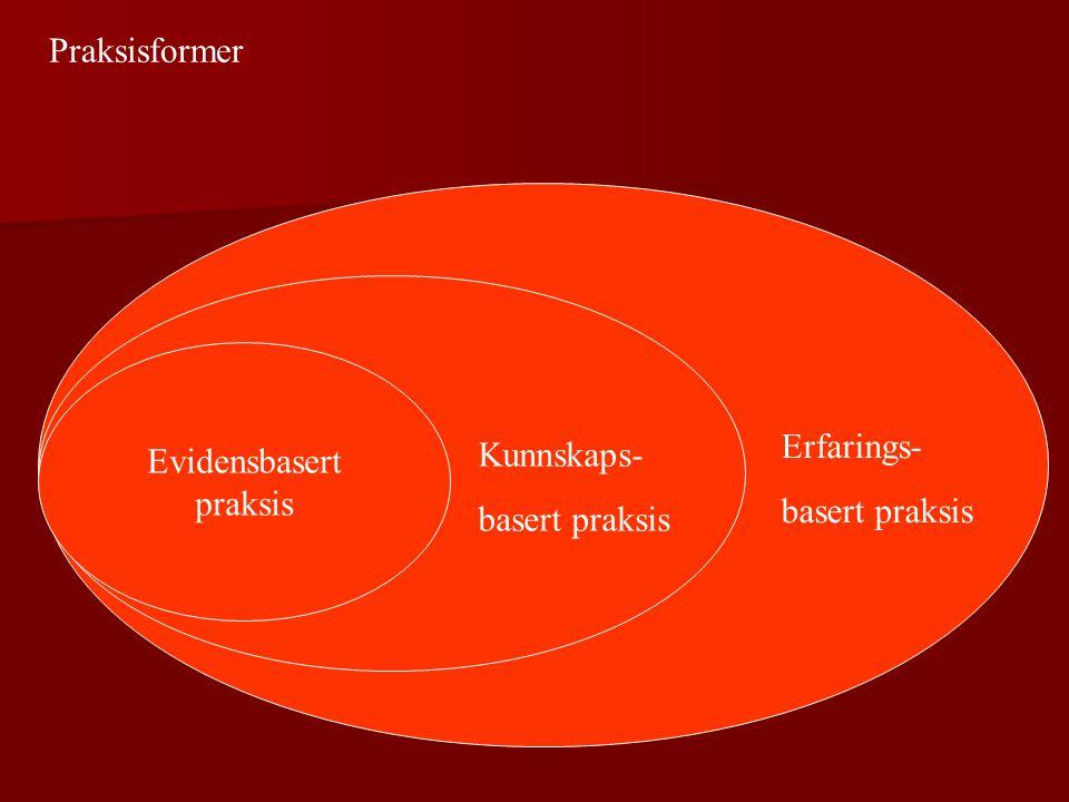 Evidensbasert praksis Kunnskaps- basert praksis Erfarings- basert praksis Praksisformer