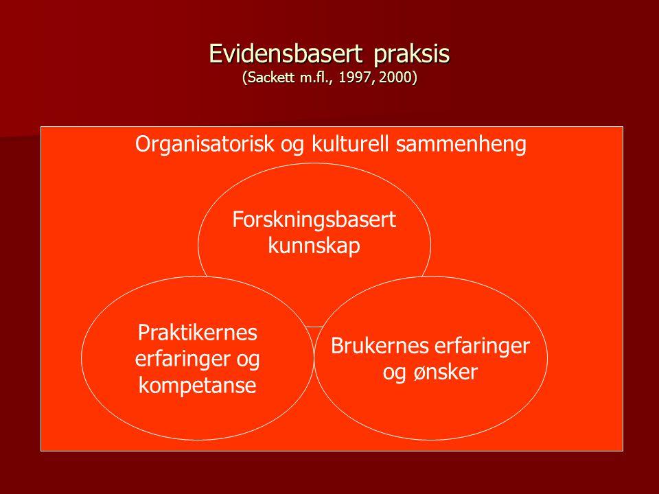 Evidensbasert praksis (Sackett m.fl., 1997, 2000) Forskningsbasert kunnskap Brukernes erfaringer og ønsker Praktikernes erfaringer og kompetanse Organisatorisk og kulturell sammenheng