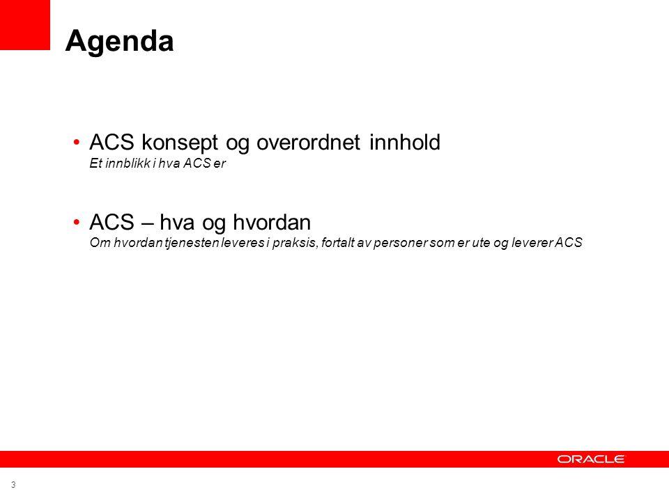 3 Agenda •ACS konsept og overordnet innhold Et innblikk i hva ACS er •ACS – hva og hvordan Om hvordan tjenesten leveres i praksis, fortalt av personer